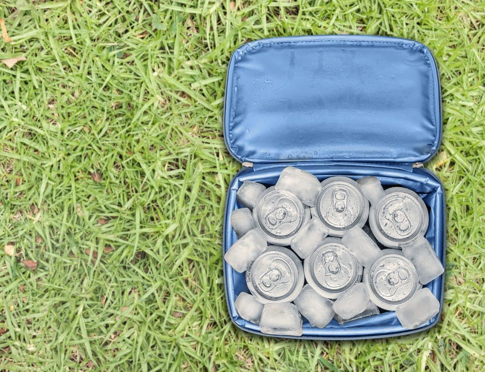 Well insulated cooler with soda cans and dry ice for camping