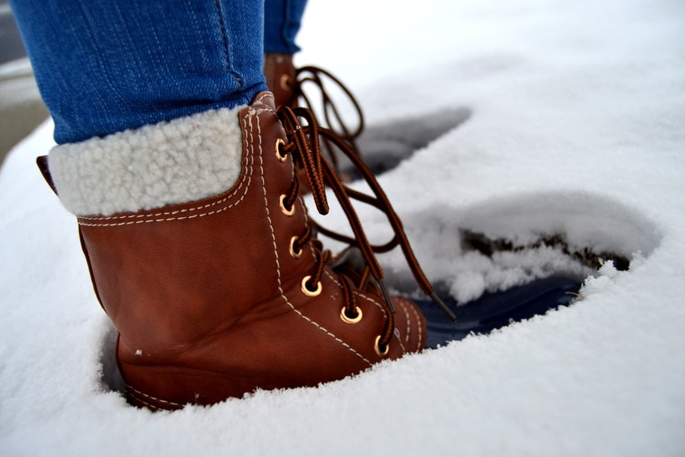 Duck boots on snow