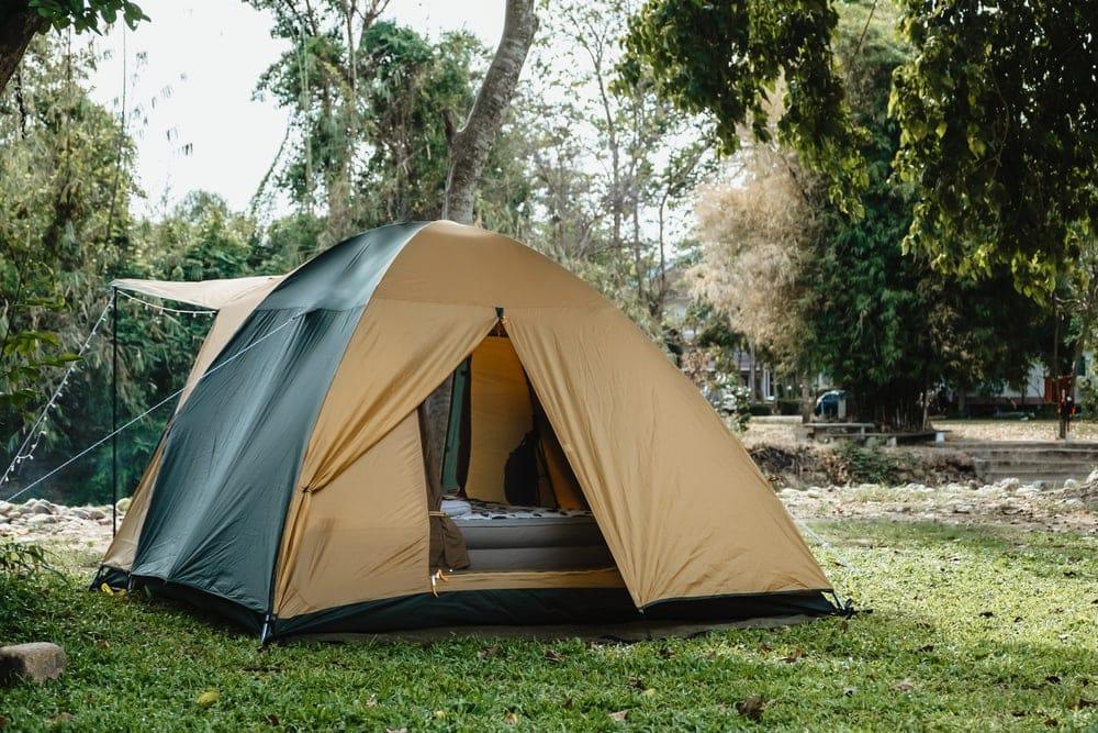 Camping tent an air mattress inside