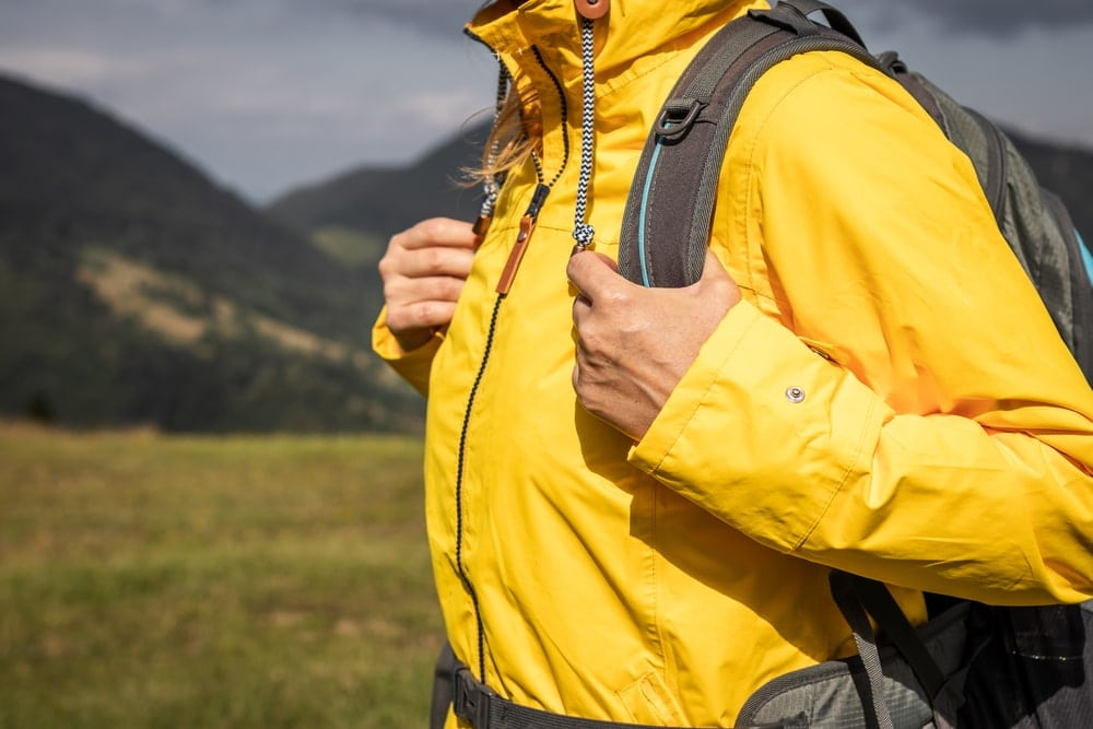 Yellow jacket worn by a hiker