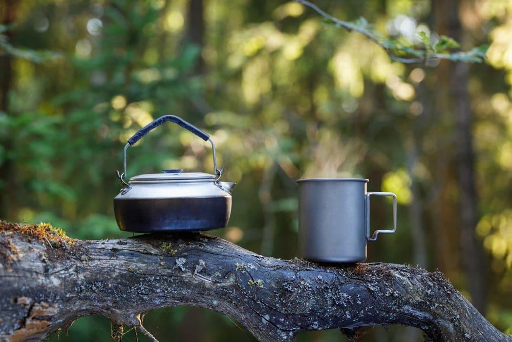 Titanium camping mug and a camping kettle
