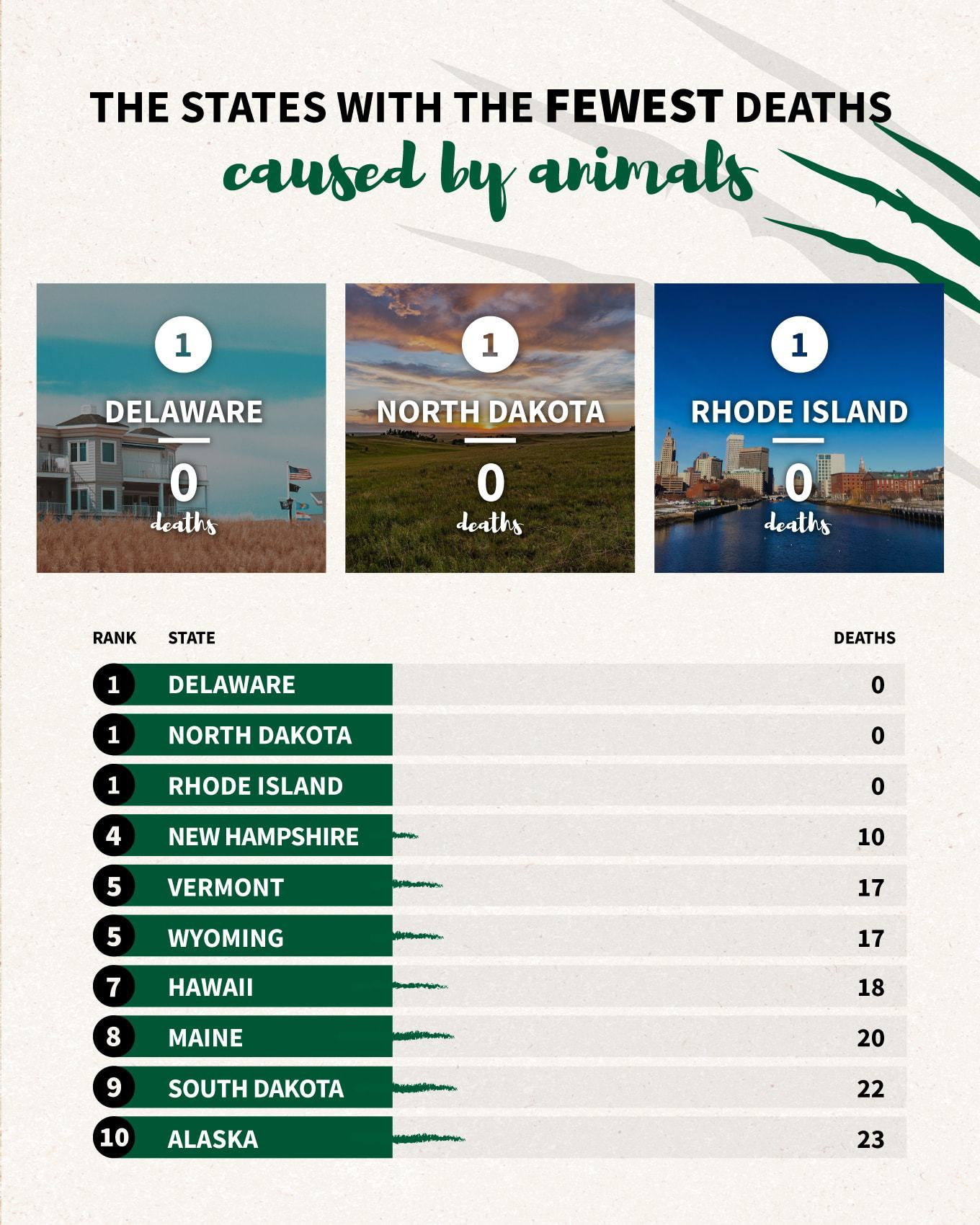 The states with the fewest deaths caused by animals infographic